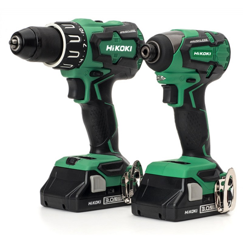 HiKOKI KC18DBFL2/JCZ 18V 2 pce Cordless Brushless Kit - Combi Drill & Impact Driver Kit - 2 x 3.0Ah Batteries - Charger - Case